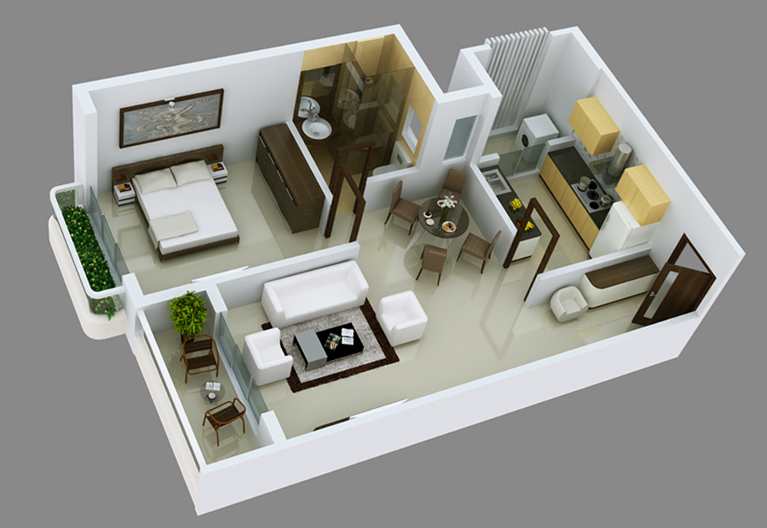 Interior design 3 bhk apartment for 1 bhk flat decoration idea